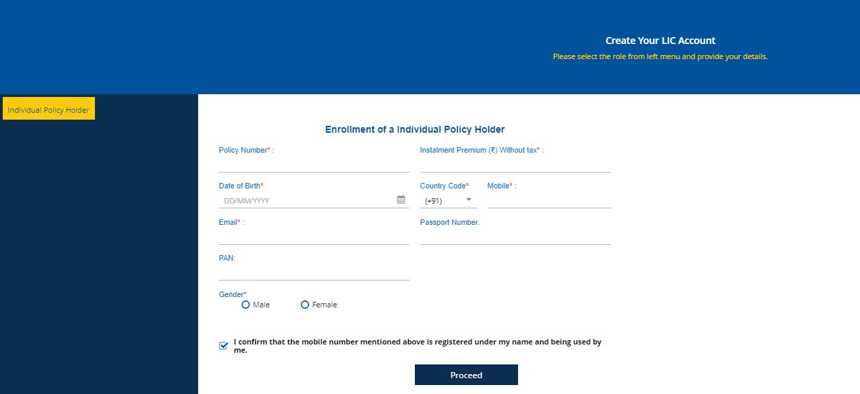 lic e service registration online