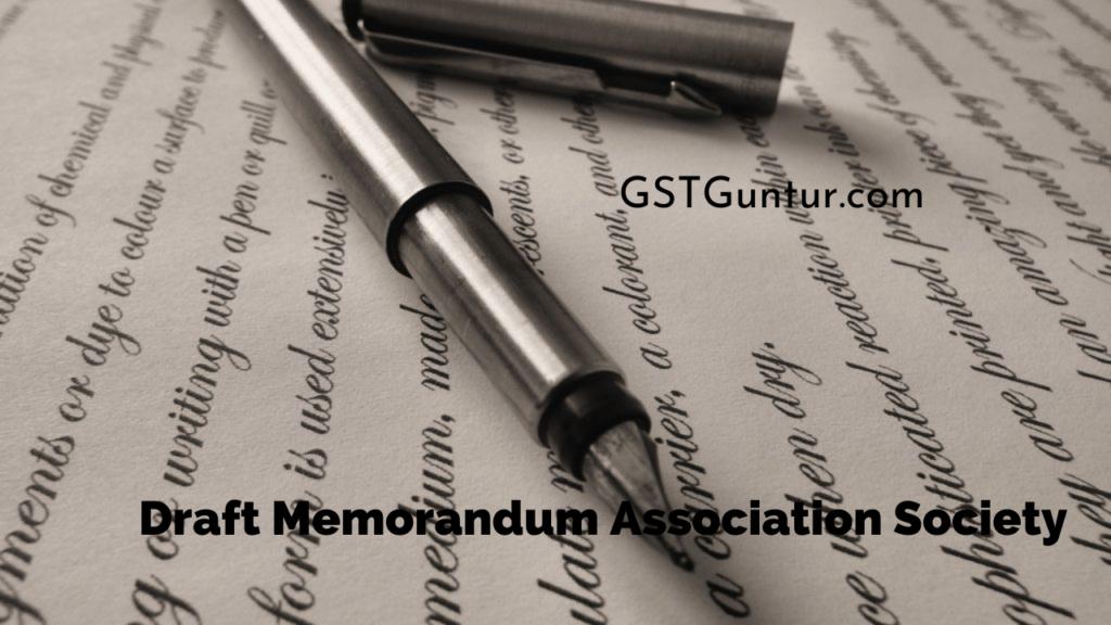 Draft Memorandum Association Society